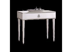 Туалетный стол Римини Соло узкий (белый/серебро)