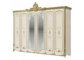 Шкаф 6-дверный Шейх (cлоновая кость/золото)