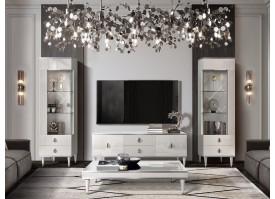 Гостиная ТВ Римини Соло (белый/серебро) СКИДКА -50%