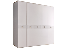 Шкаф 5-дв.Римини Соло без зеркал (белый/серебро)СКИДКА -50%