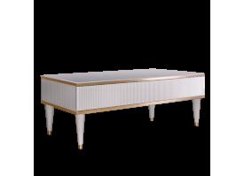Журн.стол с ящиком Римини Соло (белый/золото)