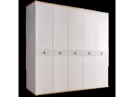 Шкаф 5-дв.Римини Соло без зеркал (белый/золото)СКИДКА -50%