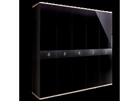Шкаф 5-дв.Римини Соло без зеркал (Черный/серебро)СКИДКА -50%