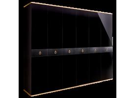 Шкаф 6-дв.Римини Соло без зеркал (Черный/золото)СКИДКА -50%