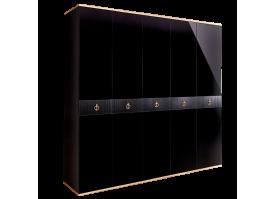 Шкаф 5-дв.Римини Соло без зеркал (Черный/золото)СКИДКА -50%