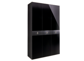 Шкаф 3-дв.Римини Соло без зеркал (черный/серебро)СКИДКА -50%