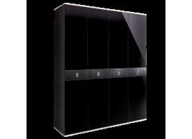 Шкаф 4-дв.Римини Соло без зеркал Черный/сереброСКИДКА -50%