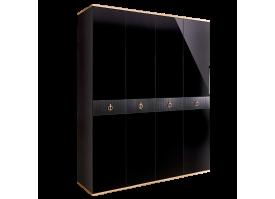 Шкаф 4-дв.Римини Соло без зеркал (Черный/золото)СКИДКА -50%