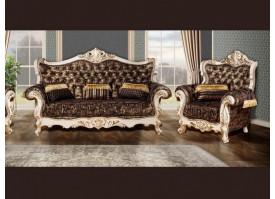 Мягкая мебель Валенсия 1 бежевая/черное золото