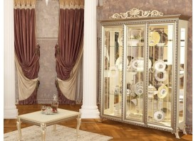 Шкаф-витрина 3-х дверная Версаль беж