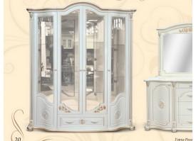 Шкаф витрина Роза 4-х дверная ваниль