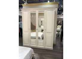 Шкаф 4-дверный Берта жемчуг/ Арида мебель