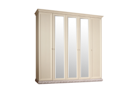 Шкаф 5-дверный Тиффани серебро с зеркалами  АКЦИЯ! СКИДКА - 40 %