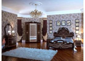 Спальня Грация орех с твердым изголовьем