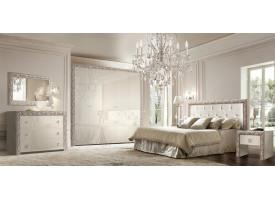Шкаф 5-дверный Тиффани премиум серебро с зеркалами