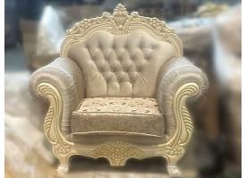 Кресло Корона (светлый беж+золотая патина)