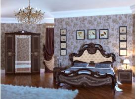 Спальня Грация орех с мягким изголовьем