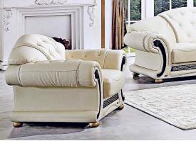 Кожаное кресло Версаче беж