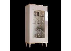 Витрина 2-дверная Римини (слоновая кость/золото) СКИДКА -50%