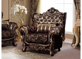 Кресло Валенсия 1 венге/черное золото