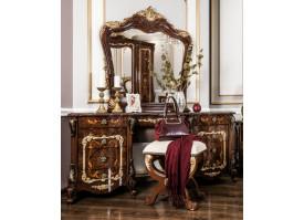 """Туалетный стол с пуфом Энрике орех/глянец """"Эра мебель"""""""