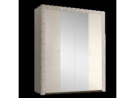 Шкаф 4-дверный Тиффани премиум серебро с зеркалами