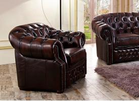 Кожаное кресло В-128 коричневое