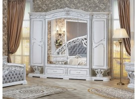 Шкаф 6-дверный Марелла белое серебро/ Арида мебель