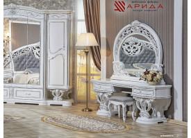 Туалетный стол с зеркалом Марелла белое серебро/ Арида мебель