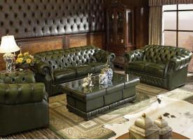 """Кожаная мягкая мебель В-128 (зеленая) """"Честер"""""""
