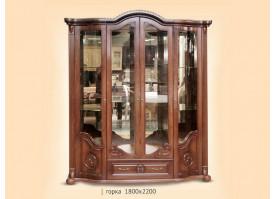 Шкаф витрина Роза 4-х дверная орех
