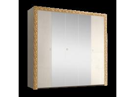 Шкаф 5-дверный Тиффани премиум золото с зеркалами